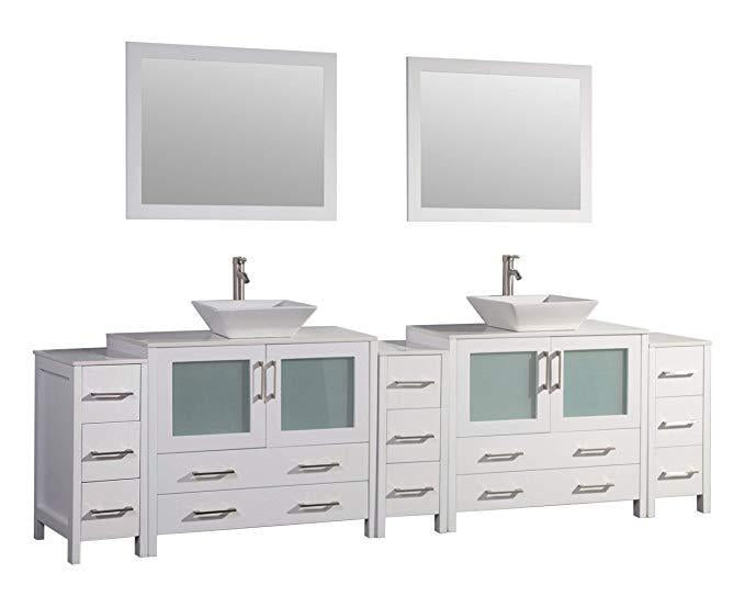 "Vanity Art 108"" Double Sink Vanity Cabinet with Ceramic Vessel Sink & Mirror - White, VA3136-108W"