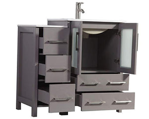 "Vanity Art 48"" Single Sink Vanity Cabinet with Ceramic Sink & Mirror - Grey, VA3024-48G test"