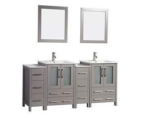 "Vanity Art 72"" Double Sink Vanity Cabinet with Ceramic Sink & Mirror - Grey, VA3024-72G test"