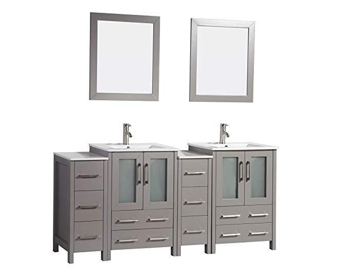 "Vanity Art 72"" Double Sink Vanity Cabinet with Ceramic Sink & Mirror - Grey, VA3024-72G"