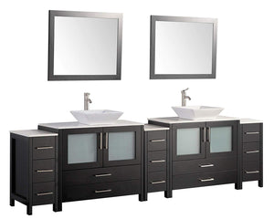 "Vanity Art 108"" Double Sink Vanity Cabinet with Ceramic Vessel Sink & Mirror - Espresso, VA3136-108E"
