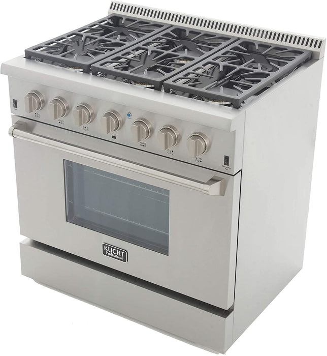 "Kucht Professional 36"" 5.2 cu ft. Propane Gas Range with Classic Silver Knobs, KRG3618U/LP-S"