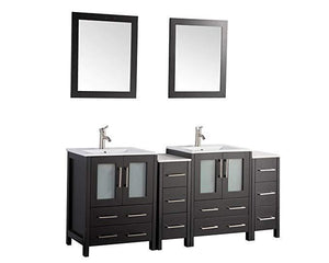 "Vanity Art 72"" Double Sink Vanity Cabinet with Ceramic Sink & Mirror - Espresso, VA3024-72E test"