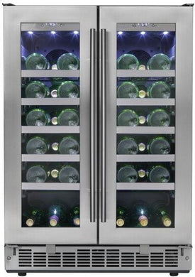 "Danby Silhouette Napa 24"" French Door Dual-Zone Wine Cooler, DWC047D1BSSPR"