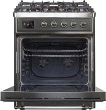 "ILVE 30"" Majestic II Series Propane Gas Burner and Electric Oven Range in Matte Graphite with Chrome Trim, UM30DNE3MGCLP"