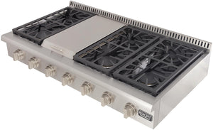 "Kucht Professional Series 48"" Liquid Propane Gas Sealed Burner Rangetop with Silver Knobs, KRT481GU/LP-S"