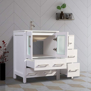 "Vanity Art 48"" Single Sink Vanity Cabinet with Ceramic Sink & Mirror - White, VA3024-48W test"