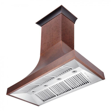 "ZLINE 48"" Designer Series Hand-Hammered Copper Finish Wall Range Hood, 8632H-48"