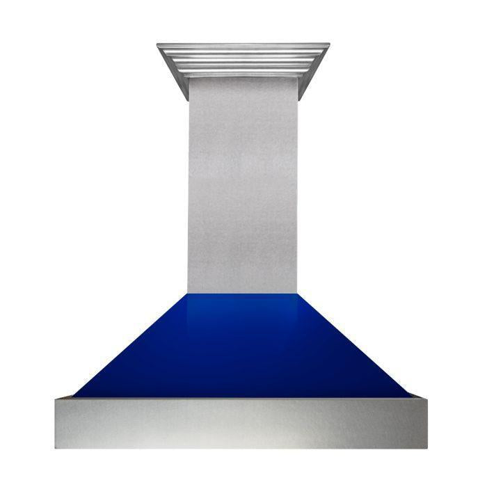 "ZLINE 42"" DuraSnow® Finish Range Hood with Blue Gloss Shell, 8654BG-42"