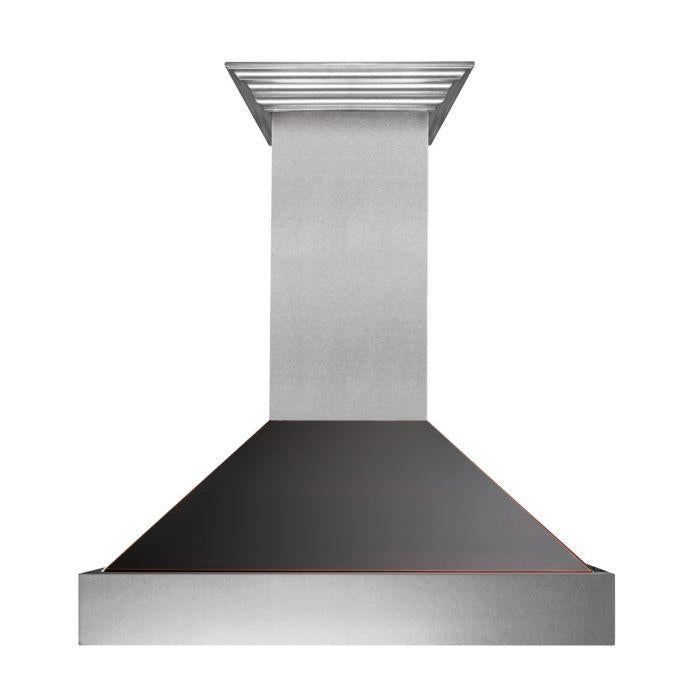 "ZLINE 30"" Ducted DuraSnow® Stainless Steel Range Hood with Oil Rubbed Bronze Shell, 8654ORB-30"