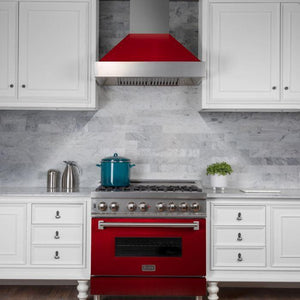 "ZLINE 36"" DuraSnow® Finish Range Hood with Red Gloss Shell, 8654RG-36 test"