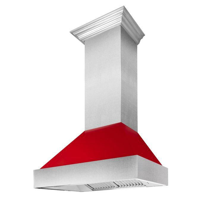 "ZLINE 48"" Ducted DuraSnow® Stainless Steel Range Hood with Red Gloss Shell, 8654RG-48"