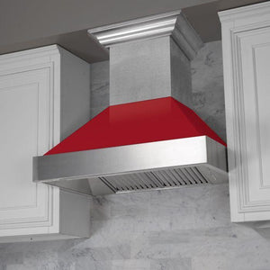 "ZLINE 48"" Ducted DuraSnow® Stainless Steel Range Hood with Red Gloss Shell, 8654RG-48 test"