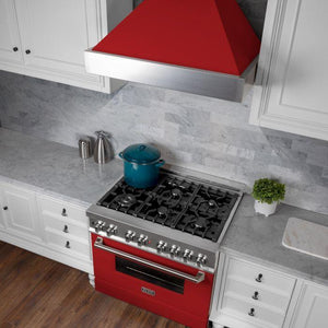 "ZLINE 36"" DuraSnow® Finish Range Hood with Red Matte Shell, 8654RM-36 test"