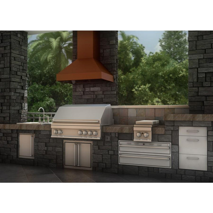 "ZLINE 36"" Copper Wall Range Hood 8597C-36, Crown Molding"