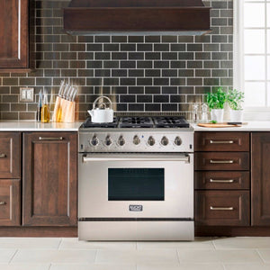 "Kucht Professional 36"" Natural Gas Burner/Electric Oven Range in Stainless Steel with Silver Knobs, KRD366F-S"