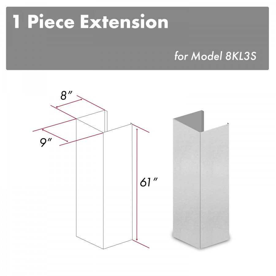 ZLINE 61 in. Snow Finished Stainless Steel Chimney Extension for Ceilings up to 12.5 ft. (8KL3S-E)
