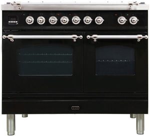"ILVE 40"" Nostalgie Series Propane Gas Burner, Electric Oven Range in Glossy Black with Chrome Trim, UPDN100FDMPNXLP"