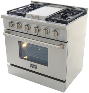 "Kucht Professional 36"" 5.2 cu ft. Propane Gas Range with Griddle and Silver Knobs, KRG3609U/LP-S test"