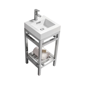 "KubeBath Cisco 16"" Stainless Steel Console with Acrylic Sink - Chrome, AC16 test"