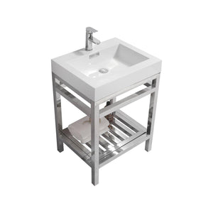 "KubeBath Cisco 24"" Stainless Steel Console with Acrylic Sink - Chrome, AC24"