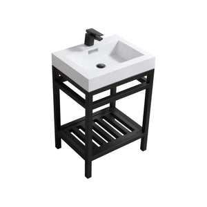 "KubeBath Cisco 24"" Stainless Steel Console with Acrylic Sink - Matte Black, AC24-BK test"