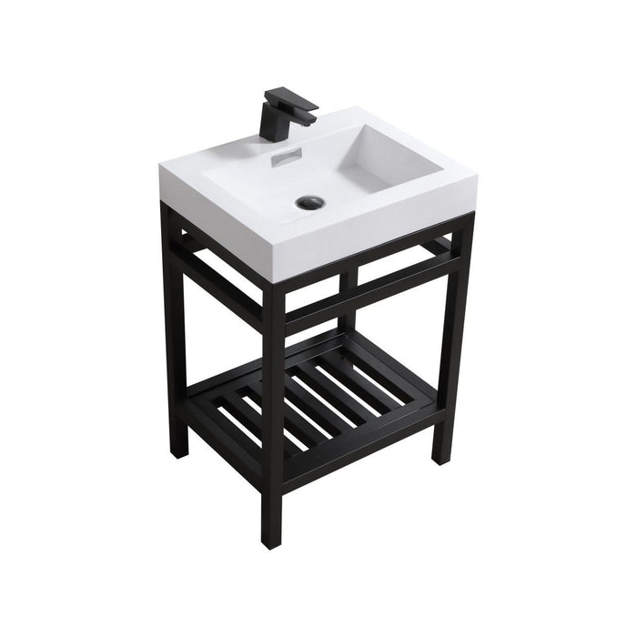 "KubeBath Cisco 24"" Stainless Steel Console with Acrylic Sink - Matte Black, AC24-BK"