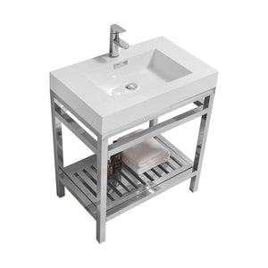 "KubeBath Cisco 30"" Stainless Steel Console with Acrylic Sink - Chrome, AC30"