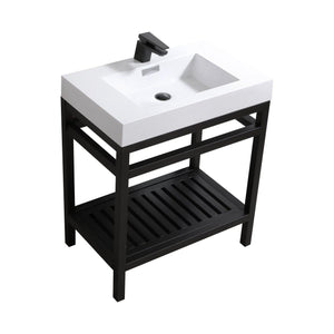 "KubeBath Cisco 30"" Stainless Steel Console with Acrylic Sink - Matte Black, AC30-BK"