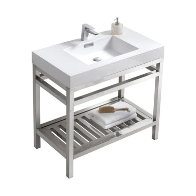 "KubeBath Cisco 36"" Stainless Steel Console with Acrylic Sink - Chrome, AC36"