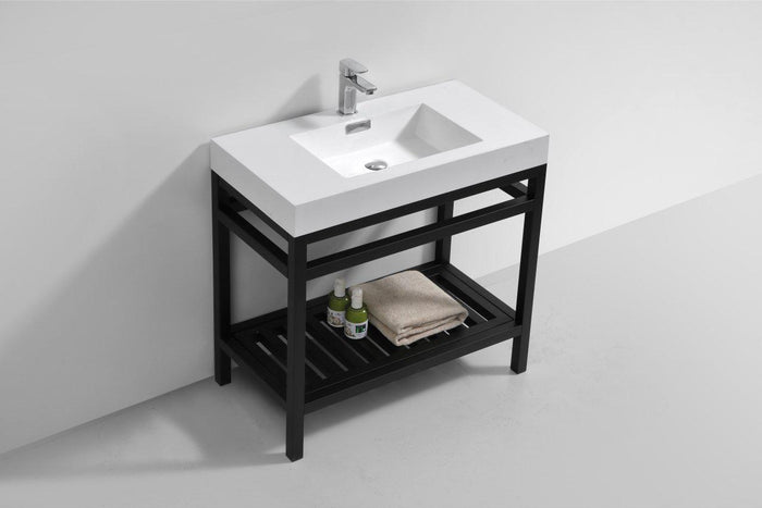"KubeBath Cisco 36"" Stainless Steel Console with Acrylic Sink - Matte Black, AC36-BK"