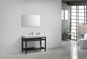 "KubeBath Cisco 48"" Stainless Steel Console with Acrylic Sink - Matte Black, AC48-BK test"