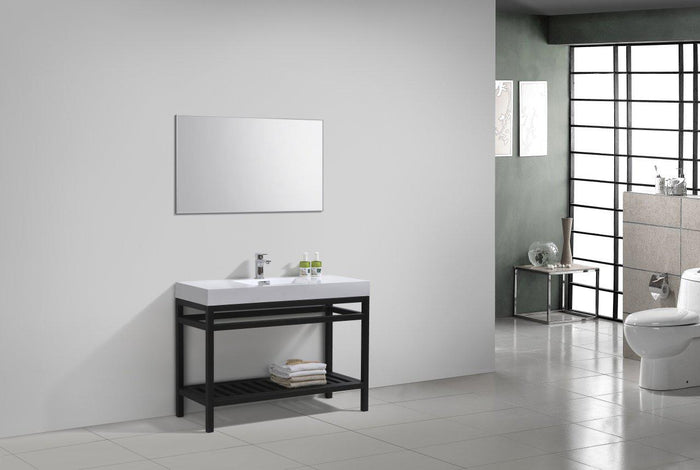 "KubeBath Cisco 48"" Stainless Steel Console with Acrylic Sink - Matte Black, AC48-BK"
