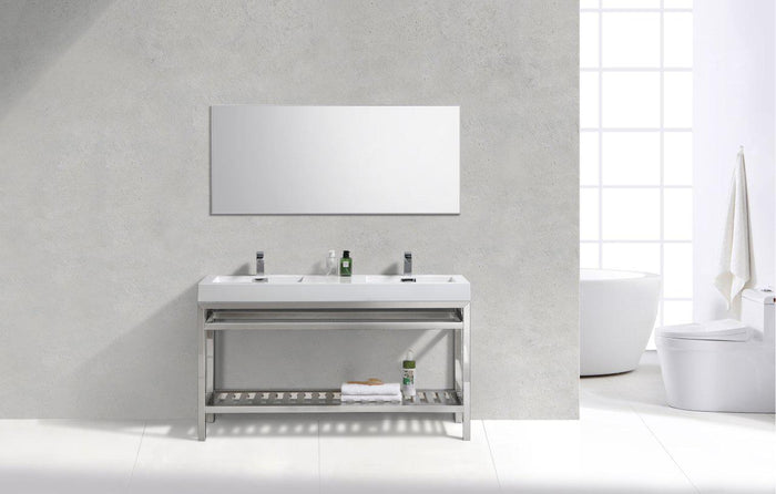 "KubeBath Cisco 60"" Double Sink Stainless Steel Console with Acrylic Sink - Chrome, AC60D"