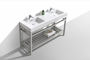 "KubeBath Cisco 60"" Double Sink Stainless Steel Console with Acrylic Sink - Chrome, AC60D test"