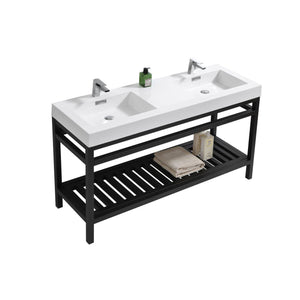 "KubeBath Cisco 60"" Double Sink Stainless Steel Console with Acrylic Sink - Matte Black, AC60D-BK"