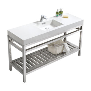 "KubeBath Cisco 60"" Single Sink Stainless Steel Console with Acrylic Sink - Chrome, AC60S"