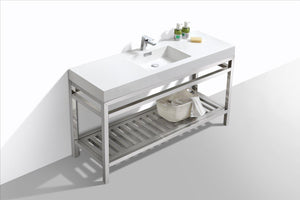 "KubeBath Cisco 60"" Single Sink Stainless Steel Console with Acrylic Sink - Chrome, AC60S test"