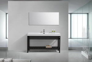 "KubeBath Cisco 60"" Single Sink Stainless Steel Console with Acrylic Sink - Matte Black, AC60S-BK test"