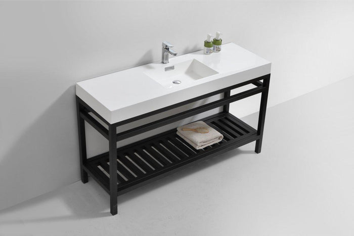 "KubeBath Cisco 60"" Single Sink Stainless Steel Console with Acrylic Sink - Matte Black, AC60S-BK"