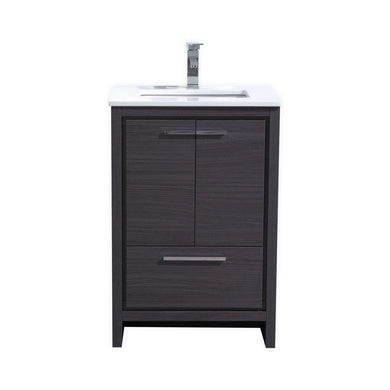 "KubeBath Dolce 24"" Modern Bathroom Vanity with White Quartz Counter Top - Gray Oak, AD624WB"