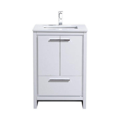 "KubeBath Dolce 24"" Modern Bathroom Vanity with White Quartz Counter Top - High Gloss White, AD624GW"