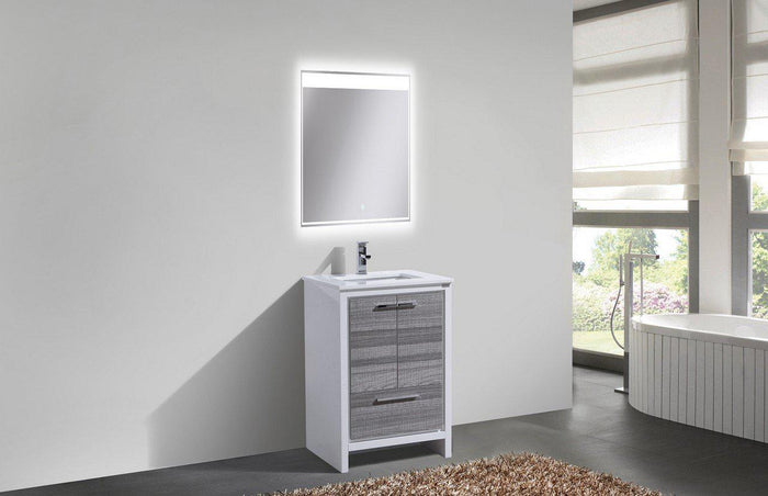 "KubeBath Dolce 24"" Modern Bathroom Vanity with Quartz Counter Top - Ash Gray"