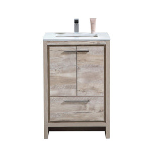 "KubeBath Dolce 24"" Modern Bathroom Vanity with White Quartz Counter Top - Nature Wood, AD624NW"