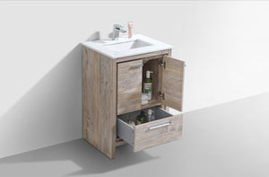 "KubeBath Dolce 24"" Modern Bathroom Vanity with White Quartz Counter Top - Nature Wood, AD624NW test"