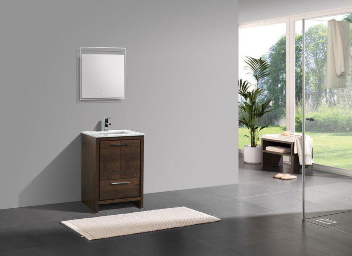 "KubeBath Dolce 24"" Modern Bathroom Vanity with White Quartz Counter Top - Rose Wood, AD624RW"
