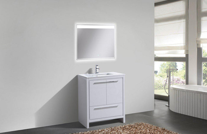 "KubeBath Dolce 30"" Modern Bathroom Vanity with White Quartz Counter Top - High Gloss White, AD630GW"