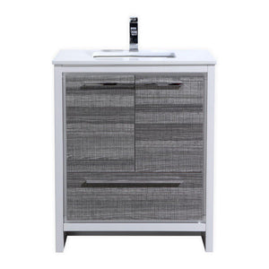 "KubeBath Dolce 30"" Modern Bathroom Vanity with White Quartz Counter Top - Ash Gray, AD630HG"