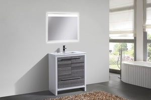 "KubeBath Dolce 30"" Modern Bathroom Vanity with White Quartz Counter Top - Ash Gray, AD630HG test"