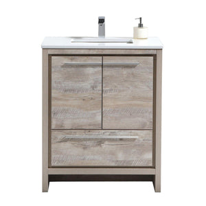 "KubeBath Dolce 30"" Modern Bathroom Vanity with White Quartz Counter Top - Nature  Wood"